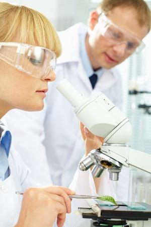 biochemist: Pretty biochemist studying new substance in microscope in laboratory
