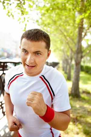 Image of young sportsman running outdoor Stock Photo - 10446055