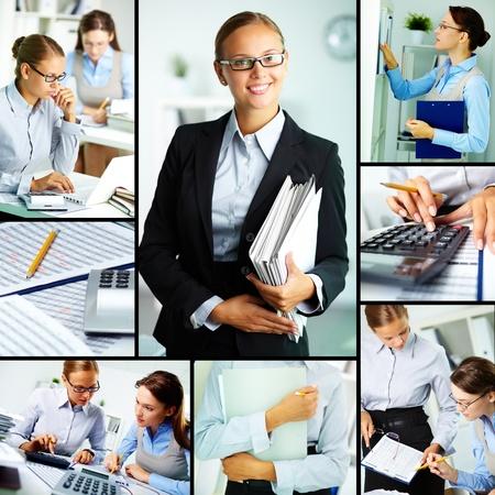 財源: オフィスで働く若い実業家のコラージュ