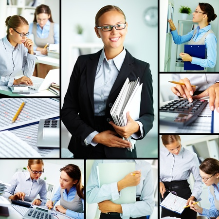 group  accountant: Collage of young businesswomen working in office Stock Photo