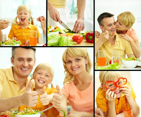 Collage of happy parents and their daughter having vegetarian breakfast  photo