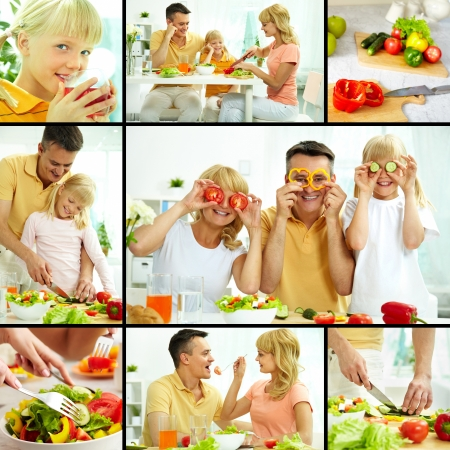 Collage of happy family vegetarians cooking and having breakfast  photo