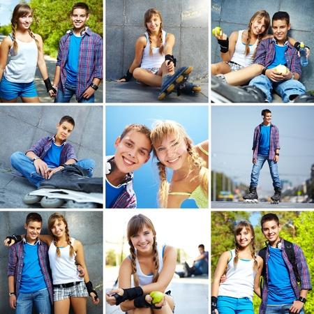 pareja de adolescentes: Collage de adolescencia feliz pasar tiempo libre juntos fuera