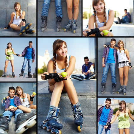 rollerskater: Collage of happy teens spending free time outside