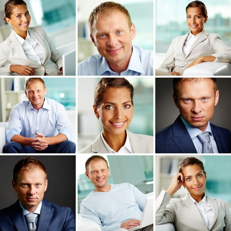 white collar workers: Collage of successful white collar workers Stock Photo