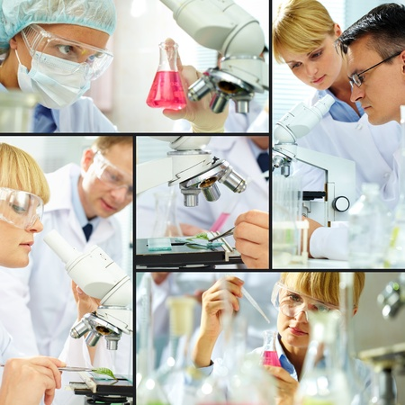 science lab: Collage of clinicians studying new substance in laboratory Stock Photo
