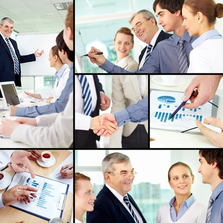 Collage of successful colleagues working in office Stock Photo - 10546549