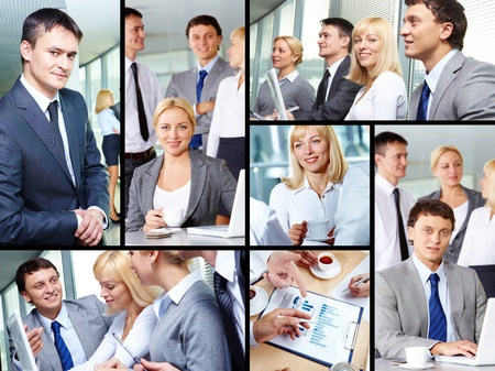 Collage of group of business people working in office photo