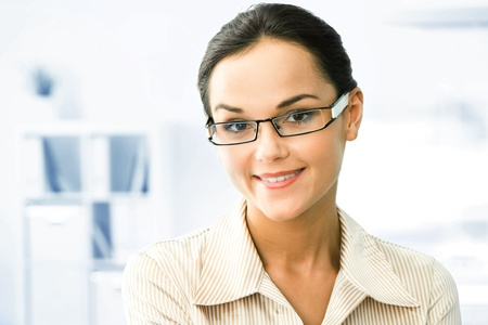 Face of clever business woman in the office  Stock Photo - 10575199