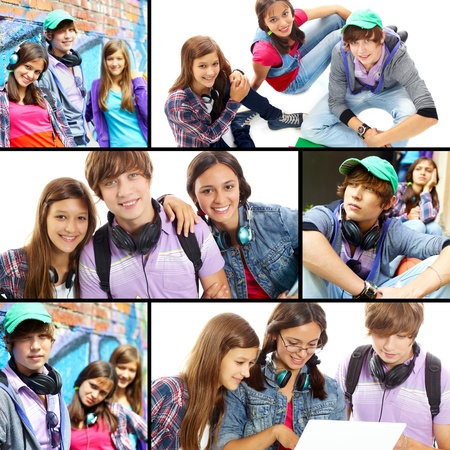 Collage of cute teens at leisure photo