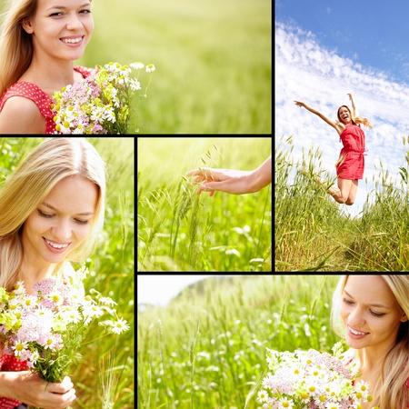 rozradostněný: Koláž mladá žena se těší v létě