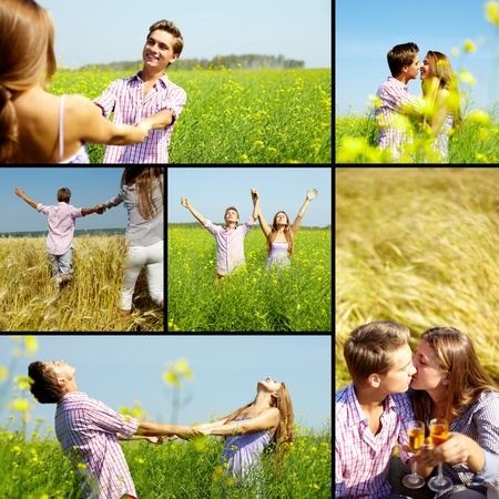 dating couples: Collage of happy young couple in flower field Stock Photo