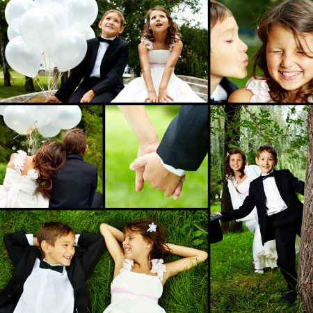 Collage of children bride and groom in park  photo