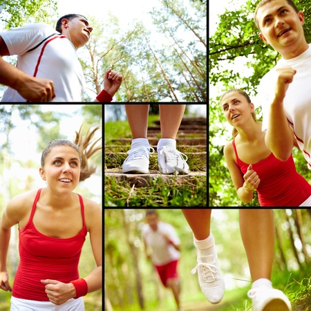 Collage of healthy young female and man running in park photo