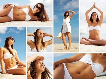 collage travel: Collage of female in white bikini sunbathing on sandy beach Stock Photo