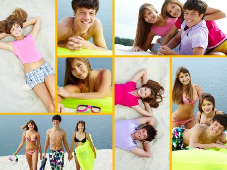 Collage of three teenage friends spending vacation on resort photo