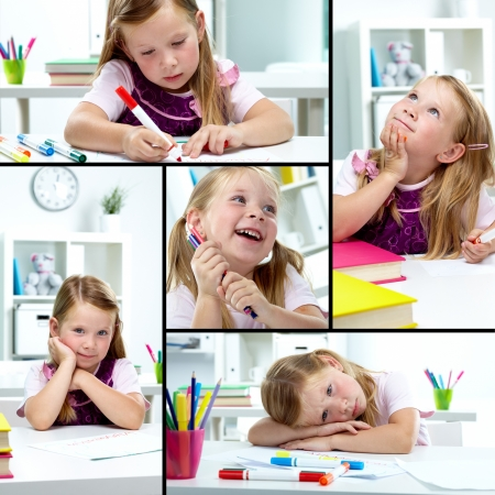 junior education: Collage of lovely girl drawing with colorful pencils