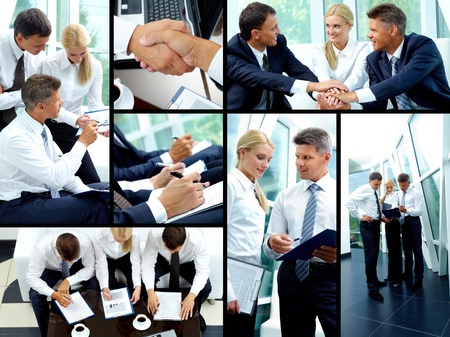 Collage of business partners working in team and making agreements photo