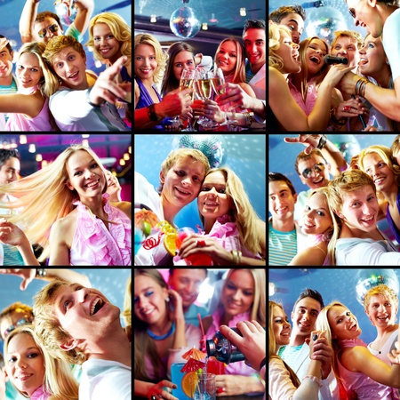 people singing: Collage of glad guys and girls dancing and singing at party
