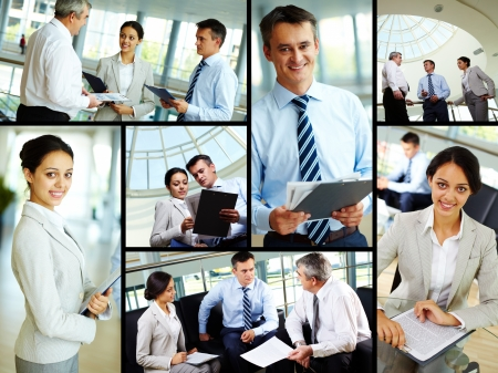 co work: Collage of business people at work and leaders