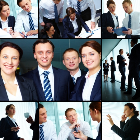 Collage of business partners working together photo