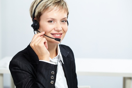 customer service woman: Portrait of pretty operator with headset