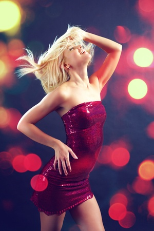 dancing club: Beautiful glamorous girl dancing club dance Stock Photo