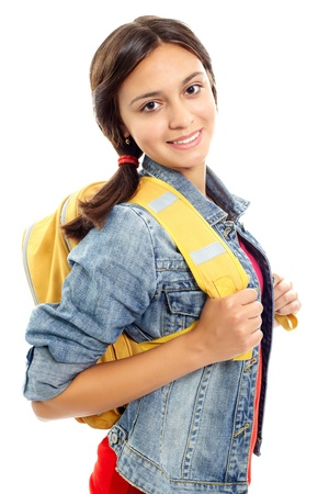 Cute girl with backpack smiling at camera in isolation Stock Photo - 10835285