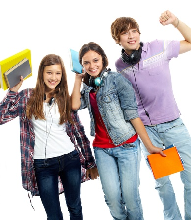 schoolmate: Three teenagers in casual clothes laughing in isolation