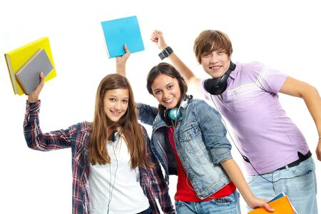 Three teenagers in casual clothes having fun photo
