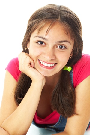 Cute girl looking at camera in isolation Stock Photo - 10864323