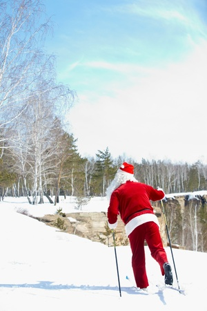 Santa Claus skiing in winter wood photo