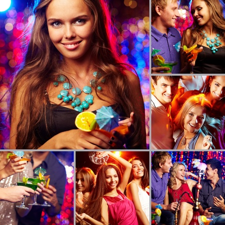 Image of happy friends spending time in night club photo