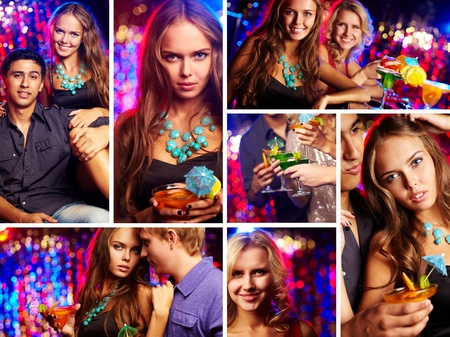 Image of happy friends having party in night club photo