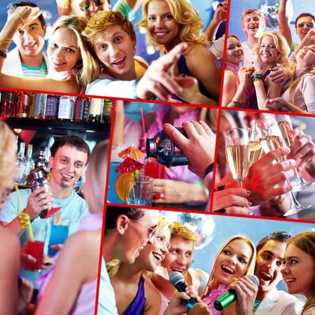 Image of several happy friends having great party photo