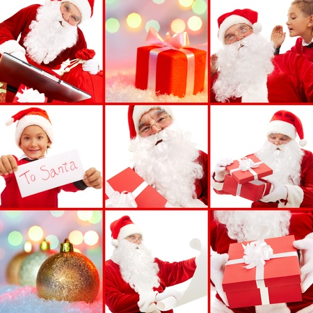 Collage of Santa Claus with gifts and cute boy before Christmas photo