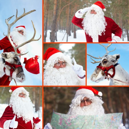 x mass: Collage of Santa Claus and his reindeer outdoor in winter