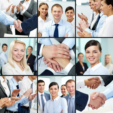Collage of young successful business people photo