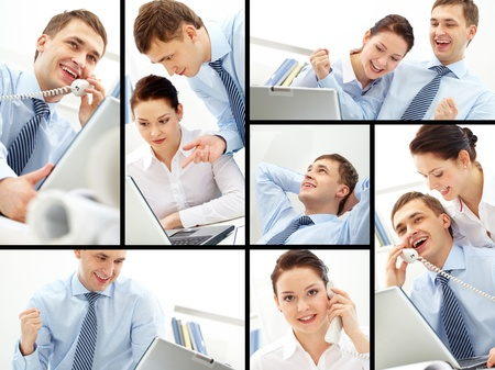 Collage of busy companions working in office photo
