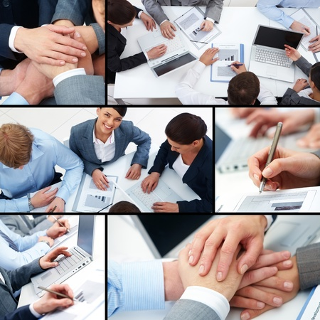 woman work: Collage of business team at work and symbols of parntership Stock Photo
