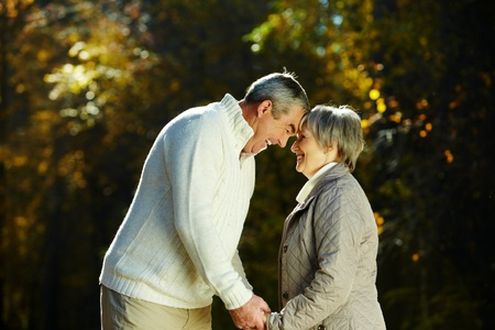 male bonding: Photo of senior couple in the park in autumn