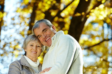 amorous woman: Photo of amorous aged man and woman looking at camera