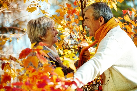 amorous woman: Photo of amorous aged man and woman looking at each other in autumnal park Stock Photo