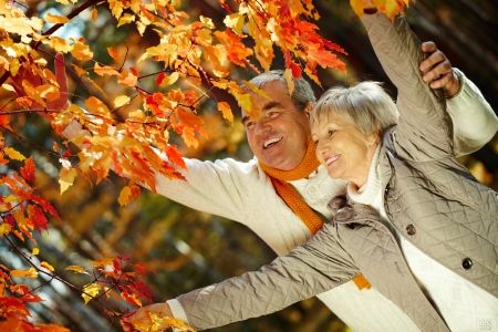 Photo of joyful man and woman looking at each other in autumnal park photo