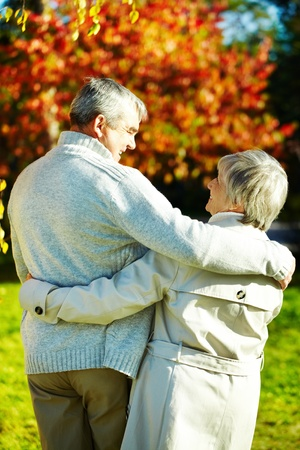 Rear view of aged man and woman taking a walk in autumnal park photo