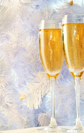 Two champagne flutes with firtree branch behind   Stock Photo