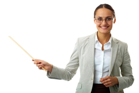 explaining: Portrait of smiling teacher looking at camera in isolation