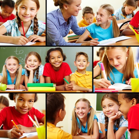ni�os hablando: Collage de los alumnos inteligentes y profesor en el aula Foto de archivo