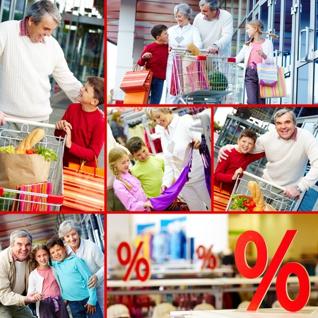 hypermarket: Collage of happy grandparents and grandchildren during and after shopping