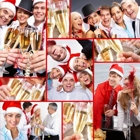 holiday party: Collage of happy business people celebrating New Year in office Stock Photo